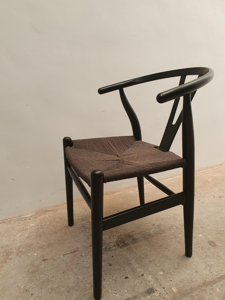 Hand-Crafted Black Edition Wishbone Chair CH24, 1980s