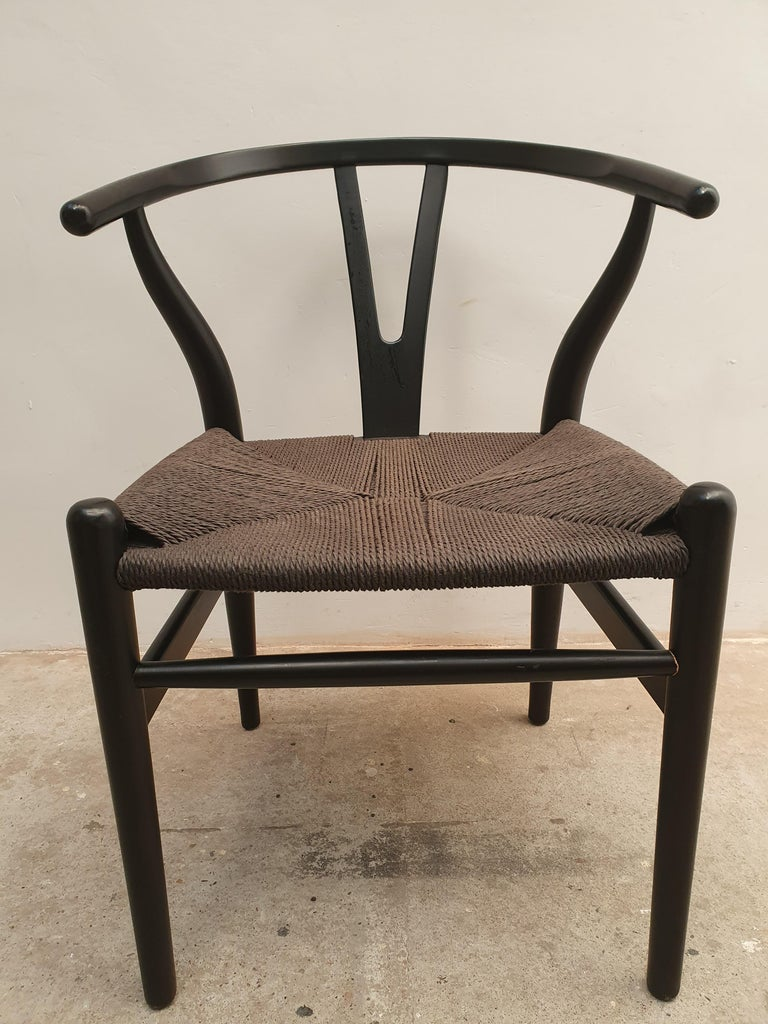 Late 20th Century Black Edition Wishbone Chair CH24, 1980s