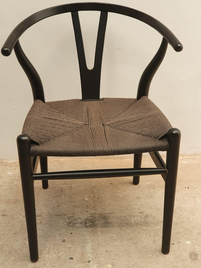 Black Edition Wishbone Chair CH24, 1980s 1