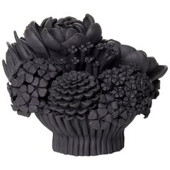 Black Efflorescence I, Floral Black Stoneware Ceramic Sculpture by Vanessa Hogge