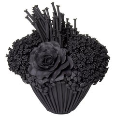 Black Efflorescence II, Floral Stoneware Ceramic Sculpture by Vanessa Hogge