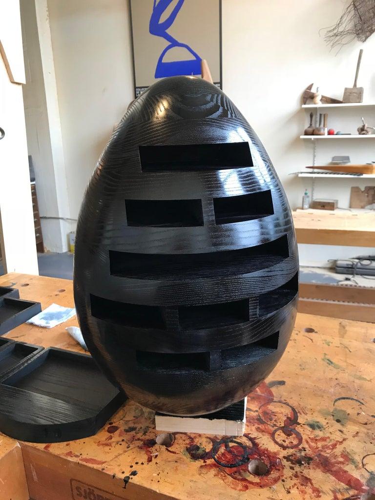American Black Egg, Multi Drawer Mini Chest, Hand Carved Wood Sculpture by Steve Turner For Sale