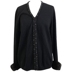 Anna Molinari Blumarine Embellished Black Fur Trim Cardigan Size 46