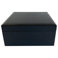 Black Embossed Leather Faux Crocodile Cigar Humidor
