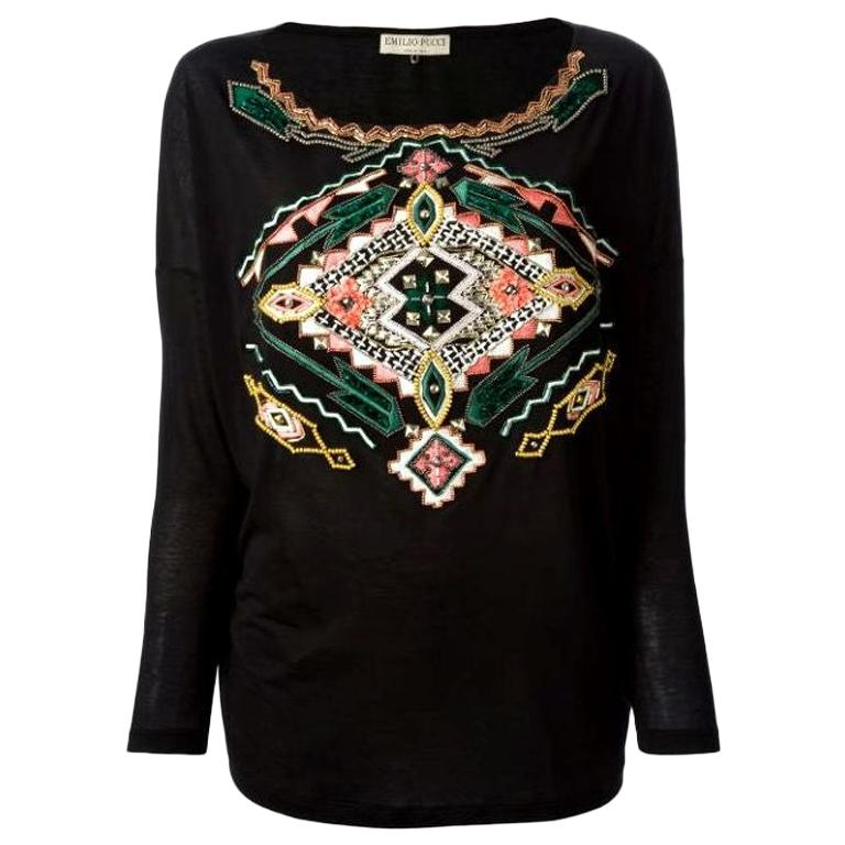 Black Emilio Pucci Embroidered Silk Blend Longsleeve Top Shirt