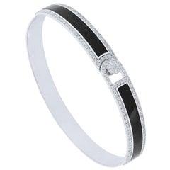 Black Enamel 18 Karat White Gold Diamond Bangle Bracelet