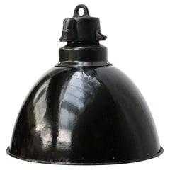 Black Enamel 1930s Vintage Industrial Pendant Lights