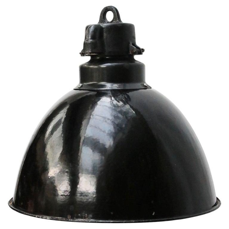 Black Enamel 1930s Vintage Industrial Pendant Lights For Sale
