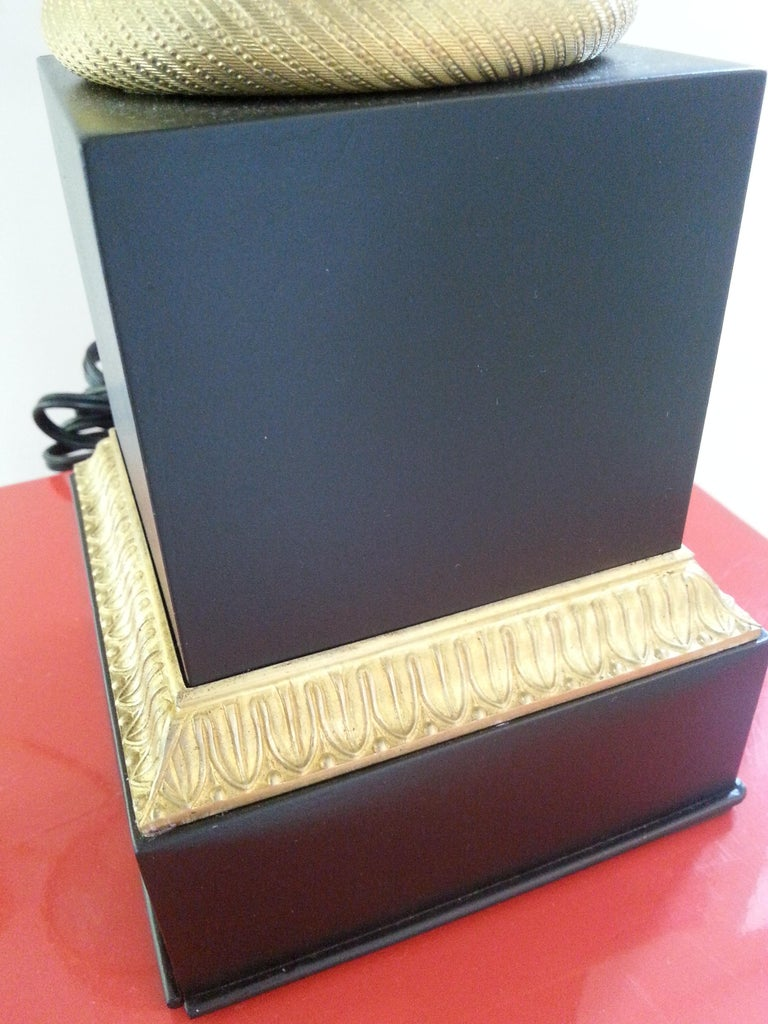 Cast Black Enamel and Bronze Table Lamp For Sale