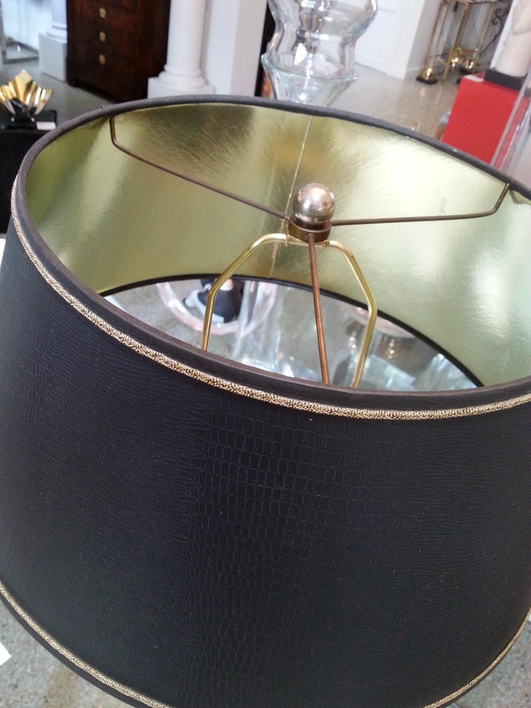 Black Enamel and Bronze Table Lamp For Sale 1