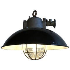 Black Enamel and Cast Iron Industrial Cage Pendant Lamp, 1950s