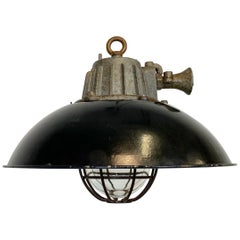 Black Enamel and Cast Iron Industrial Cage Pendant Light, 1950s
