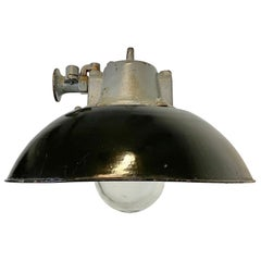 Black Enamel and Cast Iron Industrial Pendant Light, 1960s
