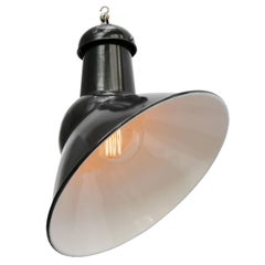 Black Enamel Asymmetrical Vintage Industrial Pendant Light