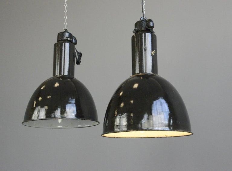 German Black Enamel Bauhaus Factory Lights, circa 1930s For Sale