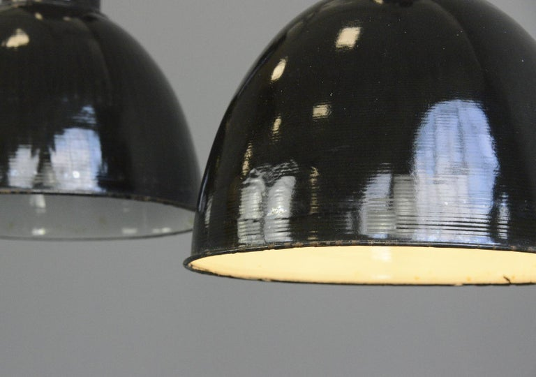 Black Enamel Bauhaus Factory Lights, circa 1930s In Good Condition For Sale In Gloucester, GB