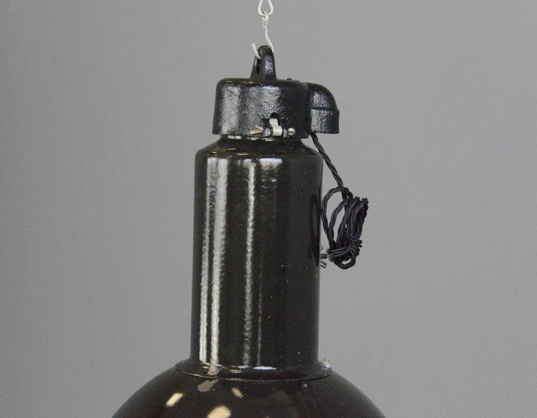Mid-20th Century Black Enamel Bauhaus Factory Lights, circa 1930s For Sale