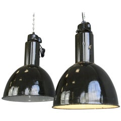 Black Enamel Bauhaus Factory Lights, circa 1930s
