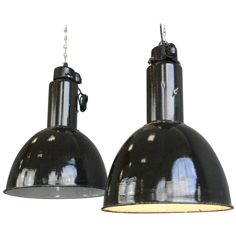 Black Enamel Bauhaus Factory Lights, circa 1930s For Sale