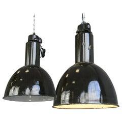 Black Enamel Bauhaus Factory Lights, circa 1930s