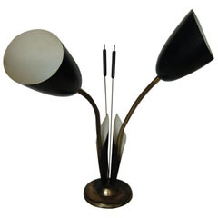 Black Enamel Brass Double Gooseneck Adjustable Calla Lily Desk Lamp