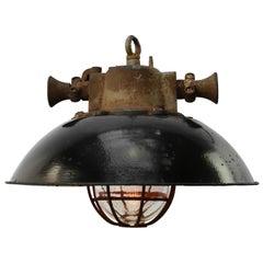 Black Enamel Cast Iron Vintage Industrial Cage Pendant Light
