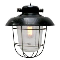 Black Enamel Clear Glass Vintage Industrial Lamp Pendants (7x)
