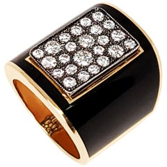 Black Enamel Cobble Stone Diamond Ring