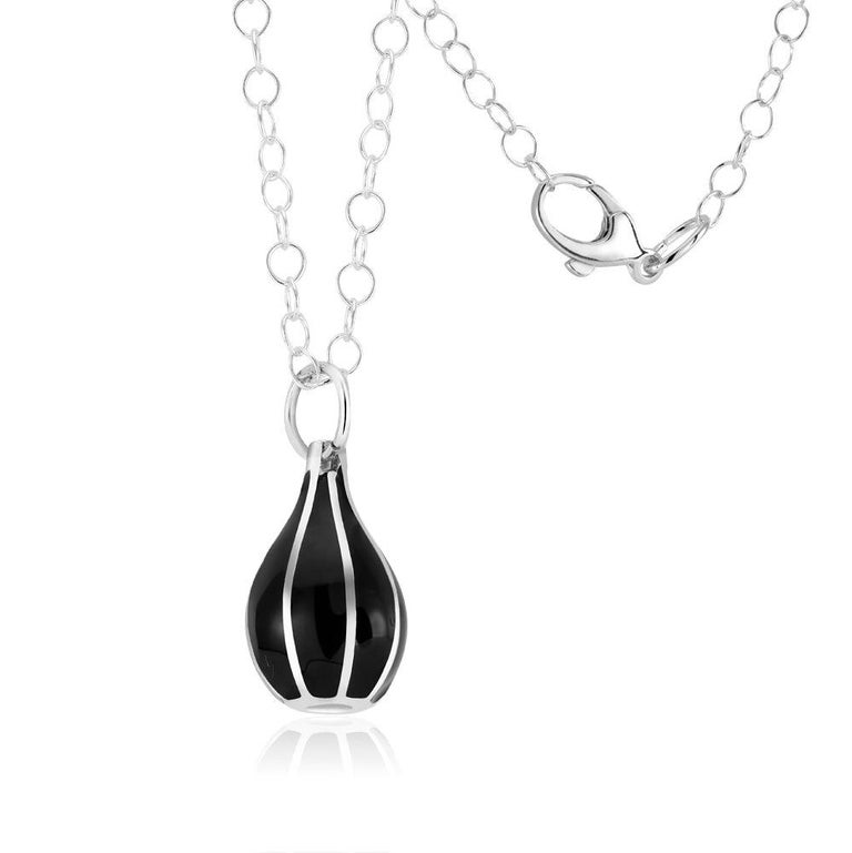 Contemporary Black Enamel Cone Charm Silver Pendant Necklace For Sale