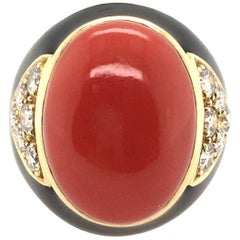 Black Enamel, Coral, Diamond and Gold Ring