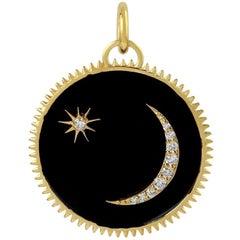 Black Enamel Crescent Moon Medallion Charm Diamond Pendant Necklace