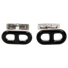 Black Enamel Cufflinks by Hermès