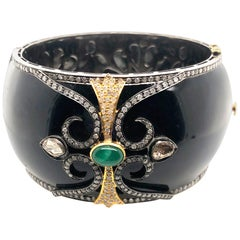 Black Enamel Designer Bangle with Diamonds and Emerald in Gold and Silver