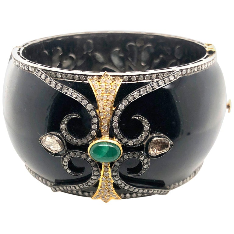 Black Enamel Designer Bangle with Diamonds and Emerald in Gold and Silver For Sale
