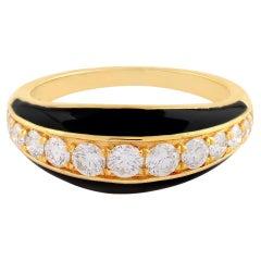 Black Enamel Diamond 14 Karat Gold Ring