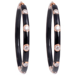 Black Enamel Diamond 18 Karat Gold Hoop Earrings