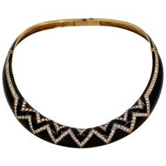 Black Enamel Diamond and Gold Collar