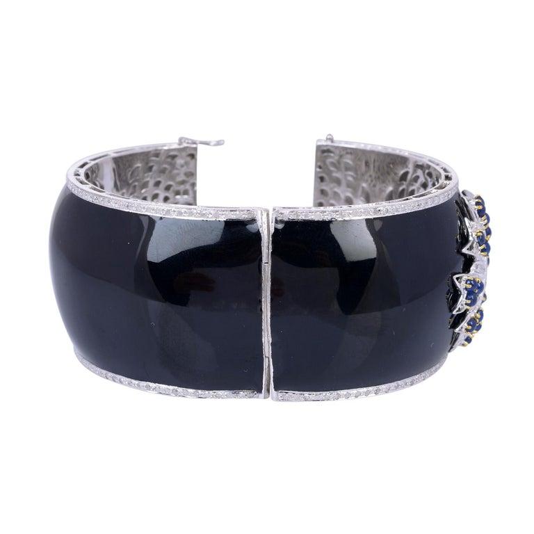 Modern Enamel Diamond Blue Sapphire Bracelet Cuff For Sale