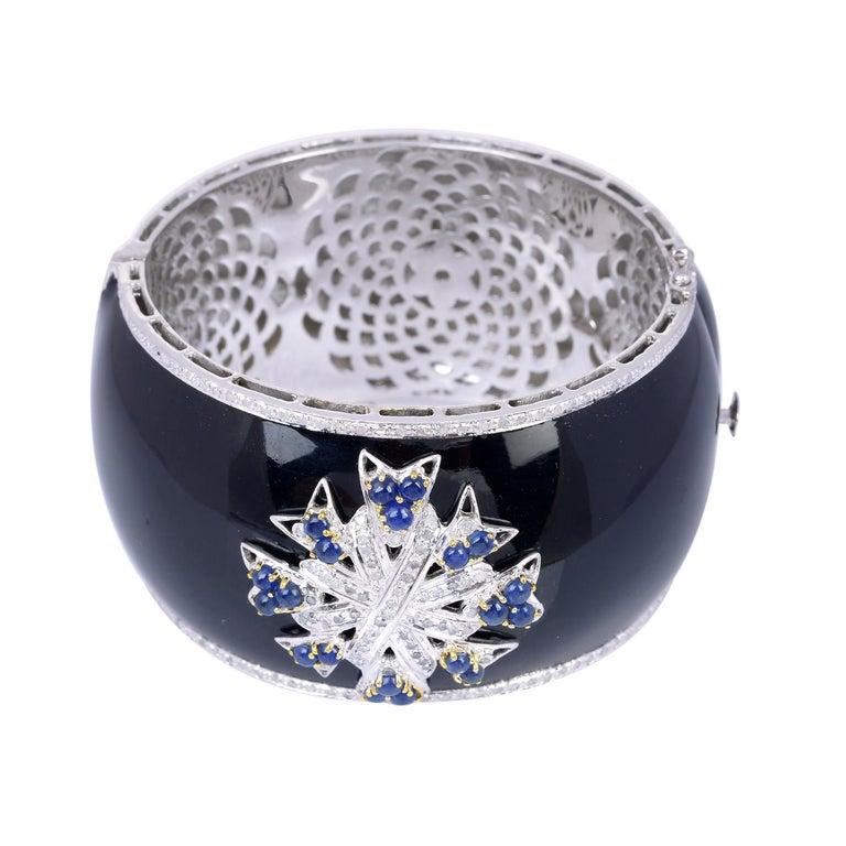 Mixed Cut Enamel Diamond Blue Sapphire Bracelet Cuff For Sale