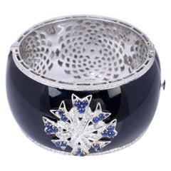 Enamel Diamond Blue Sapphire Bracelet Cuff