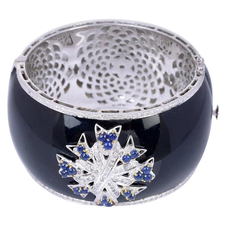 Enamel Diamond Blue Sapphire Bracelet Cuff For Sale