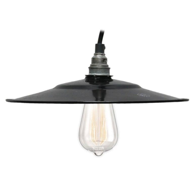 Black Enamel French Vintage Industrial Pendant Light For