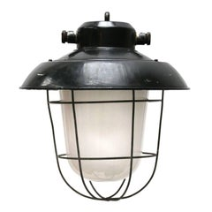 Black Enamel Frosted Glass Vintage Industrial Lamp Pendants