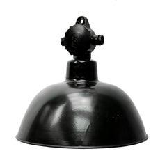 Black Enamel German Bakelite Top Vintage Industrial Pendant Light