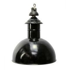 Black Enamel German Vintage Industrial Cast Iron Factory Pendant Light