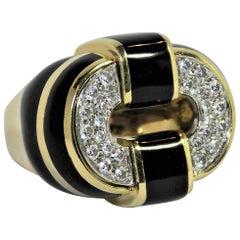Black Enamel Gold and Diamond Ring Large Scale