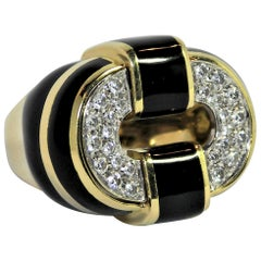 Black Enamel Gold and Diamond Ring Large Scale