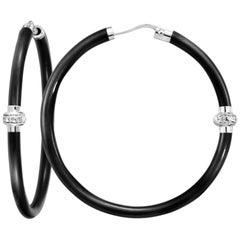 Black Enamel Hoop Earrings with Diamond Station