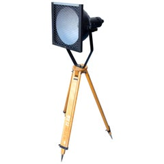 Black Enamel Industrial Spot Light Tripod Floor Lamp, 1960s