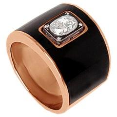 Black Enamel Oval Center Diamond Ring